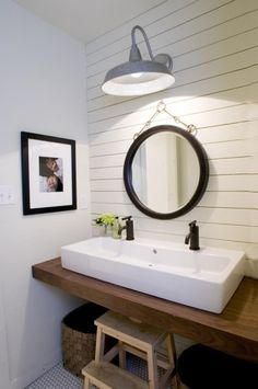 10 Awesome Small Bathroom Ideas - I think this is just about perfect for our bathroom! I want a larger mirror though.