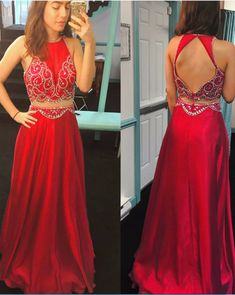 Sexy Red Evening Dresses Long Elegant Backless Satin Two Piece Prom Dress  With Beaded Bodice Formal Gowns 07ab2209eb4b