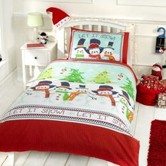 Snowman Friends Christmas Duvet Cover cot bed, single & double size - starting at £12  My favourite Christmas Duvet, perfect to make any Christmas special