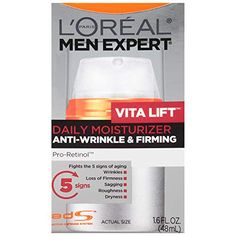 Face Moisturizer for Men, Lightweight Daily Face Lotion for men, Beard and Skincare for Men, L'Oreal Paris Skincare Men Expert Vitalift Anti-Wrinkle & Firming Face Moisturizer with Pro-Retinol, oz Face Cream For Men, Best Night Cream, Retinol Cream, Face Lotion, Anti Aging Moisturizer, Sagging Skin, Best Face Products, Amazon Products, Beauty Products