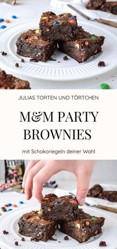 M & M Party Brownies - Fudgy, juicy and super easy!- M&M Party Brownies – Fudgy, saftig und super einfach! M & M Party Brownies recipe for juicy fudgy brownies … - Chewy Brownies, Brownie Cookies, Brownie Fondant, Cookie Dough Cake, Bean Brownies, Chocolate Chip Cookie Dough, M M Brownies, Chocolate Bars, Brownie Recipes