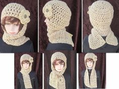 113 CROCHET PATTERN Hat scarfhat scarf combo Hood by Carlitto, $4.99