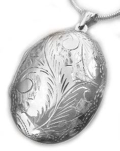 """Huge Sterling Silver Near 2"""" Large Oval Locket Pendant Silver Insanity. Pretty and Elegant."""