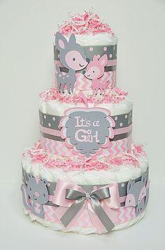 pink and gray chevron baby shower   Baby Girl Pink And Gray Diaper Cake Baby Shower Centerpiece