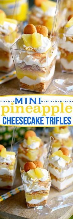 - These Mini Pineapple Cheesecake Trifles are loaded with pineapple flavor! Perfec… These Mini Pineapple Cheesecake Trifles are loaded with pineapple flavor! Perfect for an after-school snack, dessert, or party! // Mom On Timeout Brownie Desserts, Oreo Dessert, Mini Desserts, Coconut Dessert, Dessert In A Jar, Trifle Desserts, Desserts To Make, Christmas Desserts, Delicious Desserts