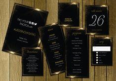 Black Gold Wedding Invitation Suite by Elegrad Design Agency on @creativemarket