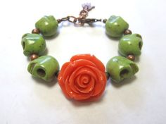 Coral Orange Rose Day of the Dead Jewelry Sugar by sweetie2sweetie