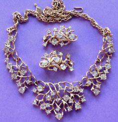 "Signed Sarah Coventry ""Tiara"" Rhinestone Necklace & Earrings - Fabulous Vintage Wedding Jewelry"