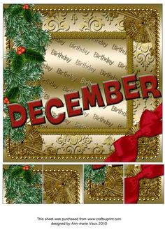 December Winter Gold Birthday 8inch Picture Sheet - CUP169388_10 | Craftsuprint