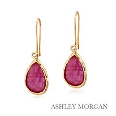 Ruby and rose gold drop earrings