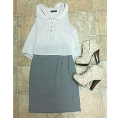 """Gray Pencil Skirt Gray, high-waisted pencil skirt from H&M.  It has loops on each side for a skinny belt (note: it didn't come with one). It's polyester, so not stretchy.  It hangs just above the knee on me and I'm about 5'8"""".  No noticeable flaws other than a stray string here or there but I will make sure all the ones I see are removed :) it's perfect with a nice blouse and a great length if you're looking for office attire! Open to offers :) H&M Skirts Pencil"""