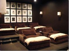 Basement theater...the ultimate in lazy but it sure looks comfy!