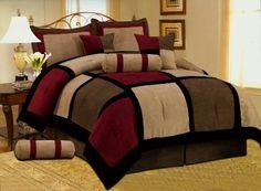 Grand Linen 7 PC Modern Black Burgundy Red Brown Suede Comforter Set/Bed in A Bag - King Size Bedding Gold Comforter Set, Brown Comforter, Bed Comforter Sets, Queen Size Bedding, Comforters, Small Bedroom Designs, Bed Designs, Bedroom Red, Brown Bedrooms