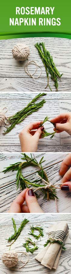 All you need is a few fresh sprigs of rosemary and twine to make these scented napkin holders!