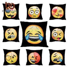 Beddingoutlet emoji Чехлы для подушек Реверсивный DIY блесток Русалка Наволочки смешно, меняя улыбающиеся лица декоративные Подушки Детские случае Цена: US $5.80 - 7.50 / шт. Цена со скидкой: US $3.48 - 4.50 / шт.  -40%