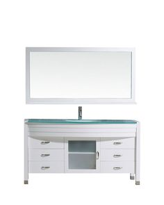 Frausto 61 Single Bathroom Vanity Set with Clear Top and Mirror with Price : $ 1269.99