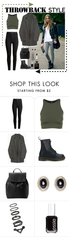 """""""Throwback Style: Dr. Martens"""" by swagyniky ❤ liked on Polyvore featuring H&M, Onzie, Zara, Dr. Martens, MANGO, Givenchy, Essie, Chanel and throwbackstyle"""