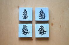 Wooden Tree Magnets  Hand-painted   Wooden Fridge by KubuHandmade