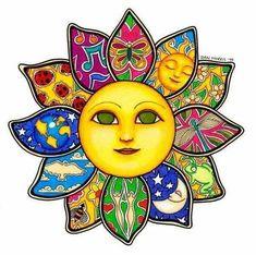 Sun Flower by Dan Morris - Sonne, Mond und Regenbogen - Flowers Sun Moon Stars, My Sun And Stars, Sun Painting, Sun Art, Hippie Art, Mexican Art, Art Graphique, Whimsical Art, Rock Art