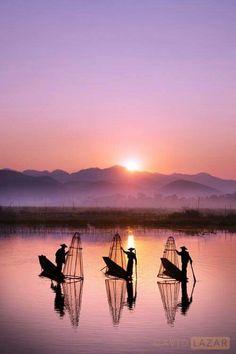 Inle Lake at sunrise, Myanmar