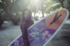 Suit up and show your style on and off the board in the Hawaiiana printed wetsuits and bikinis.