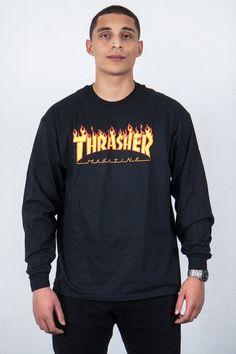 Thrasher - Flame Logo Tee,thrusher, mug, tee, black, white, shirt, hood, hoodie, rihanna, outfit, wallpaper, white, black, style, trend, fashion, men, boy, women, girl, skate, skater, skateboard, skateboarding, 2017, magazine, clothing, flame, fire, onfire, blue, goat, skull, thrashermag,