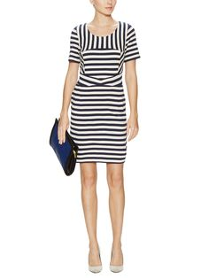 Marc by Marc Jacobs - Yuni Striped A-Line Dress in Black Iris Multi