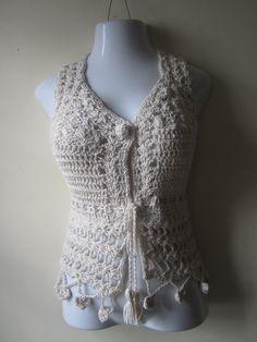 CROCHET VEST, Offwhite, crochet camisole top, vest, vintage inspired, festival clothing, beach wear, gypsy, bohemian princess, COTTON