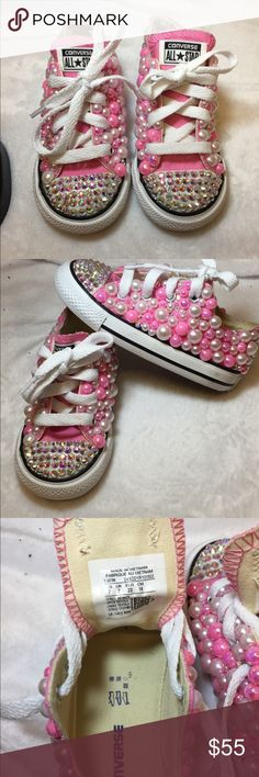 Infants bling converse handmade by me Infants bling converse handmade by me! Custom made and very blingy!  Converse Shoes Sneakers