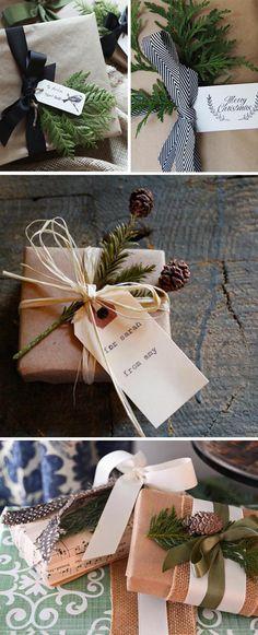 envolver regalos con ramas para navidad