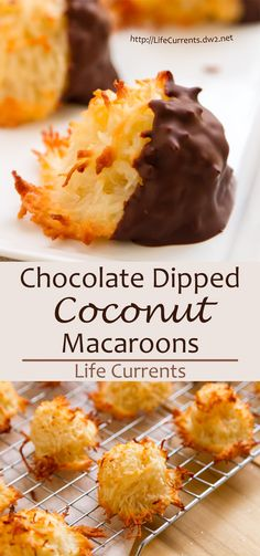 Chocolate Dipped Coconut Macaroons - These are definitely one of my favorite cookies - crunchy toasted exterior with a chewy soft inside holiday baking recipes Baking Recipes, Cookie Recipes, Dessert Recipes, Baking Desserts, Mexican Desserts, Frosting Recipes, Drink Recipes, Holiday Baking, Christmas Baking