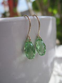 Swarovski Green Earrings Teardrop Crystal Gold Filled Earrings - Peridot Green, Dangle, Wedding Jewelry on Etsy, $18.50