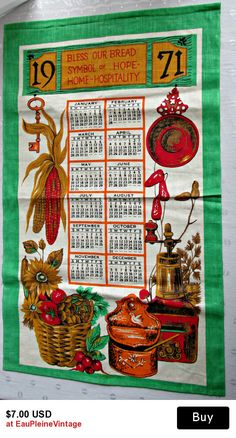 Vintage Country Wall Calendar 1971 Cotton Hanging Bless Our Bread Hospitality
