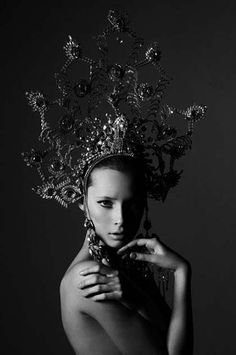 Russian style, fashion photograph, kokoshnik headdress