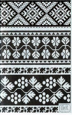 "Photo from album ""Рукоделие"" on Yandex. Fair Isle Knitting Patterns, Fair Isle Pattern, Knitting Charts, Knitting Designs, Knitting Stitches, Cross Stitch Borders, Cross Stitch Patterns, Mochila Crochet, Fair Isles"