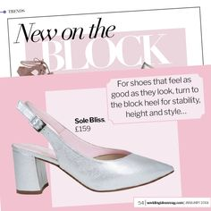 The perfect wedding bunion block heels! 'Alessia' in silver suede as featured in Wedding Ideas mag.