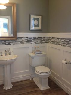 White board and batten wainscot with glass tile inlay by gwen