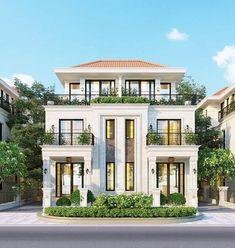 Classic House Exterior, Classic House Design, Dream House Exterior, 3 Storey House Design, Bungalow House Design, House Outside Design, House Front Design, Courtyard House Plans, Facade House