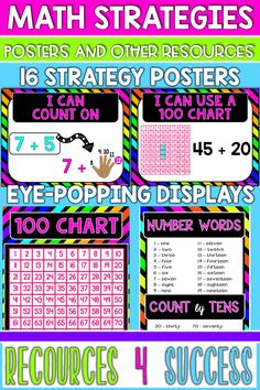 Are you constantly asking your students to use STRATEGIES and asking them which strategy they used to solve a problem? I DO THAT! I realized that I could help them be successful if they had a bank of strategies to choose from, so I created 16 bright and colorful STRATEGY POSTERS and hung them on the board in front of my classroom… And, can you guess what happened? YEP! They are using them… ALL- THE - TIME!