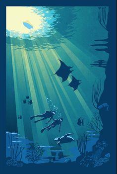 Retro Scuba Diving poster art illustration by ArtBySassanFilsoof