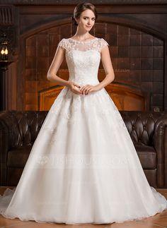 Forme Princesse Col rond Traîne mi-longue Organza Robe de mariée avec Motifs appliqués Dentelle (002056428) - JJsHouse