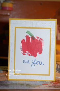 Teacher thank you card.  Work of Art stamp set from Stampin' Up!