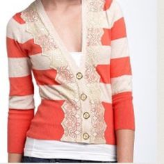 SWEATER Different from other Cardigans....bracelet length sleeves...preppy and feminine...parfait stripes and lace with 4 Gold buttons .... This Charlotte Tarantola Cardigan will get you tons of compliments❤️worn a handful of times and in Preloved condition ❌trades❌PayPal Charlotte Tarantola Sweaters