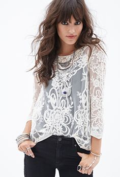 Embroidered Mesh Top | FOREVER21 - 2052289130