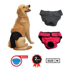 My Dog Underwear | Set of 2 Black and Red Super Comfortable Unisex Pet Diaper Sanitary Pants | Available in Size S M L XL | Premium High Absorbency Cotton | Extremely Keep Your Room Spotless | Absolutely Easy to Put On/Off with Flaps | Machine Washable ** Want to know more, click on the image. (This is an affiliate link) #DogLovers