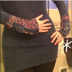 Thermal Top with Floral Cuffs Cozy thermal henley top with floral cuffed arms and buttons. Three Bird Nest Tops