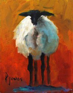 """Ewe's Fluffy III"" is an original oil painting on canvas by Paula Jones measuring 8"" x 10""."