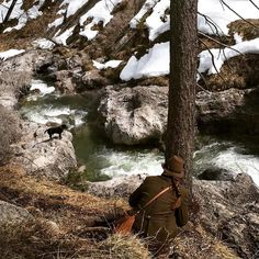 Enjoying nature - last snow is melting and the rivers are growing in the mountains of Baveria! The dog doesn't want to jump in. #bayern #wanderung #tegernsee #bracke #jagd #tracht #huntress #jägerin #enjoyinglife #vacation2016 by germanhuntress