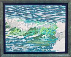 Ocean Wave Wall Decor Art Quilt Framed by PennyFabricArt on Etsy