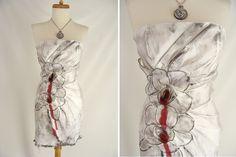 $72.00 upcycled White Strapless Dress Bleeding Rose Flower WILMA FLINTSTONE ZOMBIE Vampire Halloween Costume size 4 xs by wardrobetheglobe on Etsy